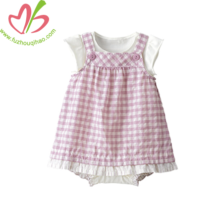 Plaid Baby Overalls Dresses Set