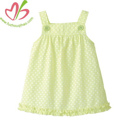Lemon Green Girls Pinafore Dress
