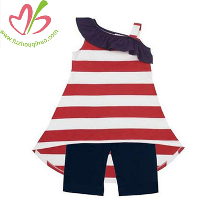 Custom Big Stripe Girls Vest Tunic Top Set