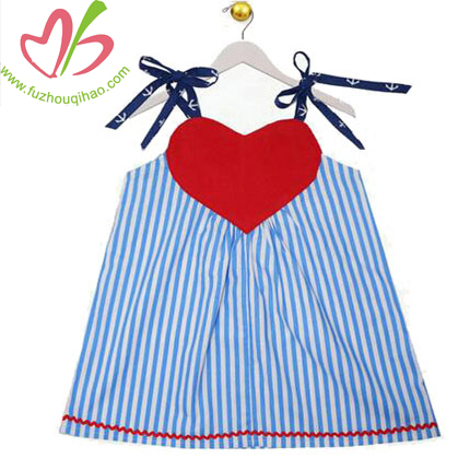 Red Heart Girl Braces Dress Skirt