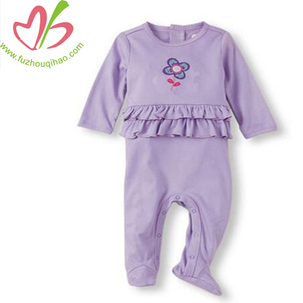 Purple Flower Embroidery Baby Jumpsuit