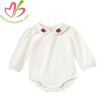 Blank long sleeve baby romper with flower applqiues