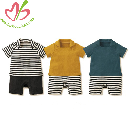 fashion style boy rompers, boy polo collar romper