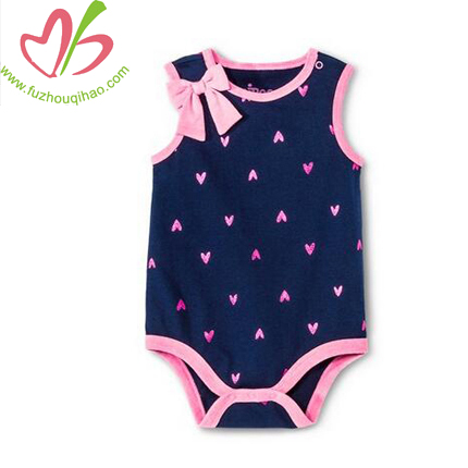 sleeveless baby romper with butterfly bow,cute baby onesie with small heart printing
