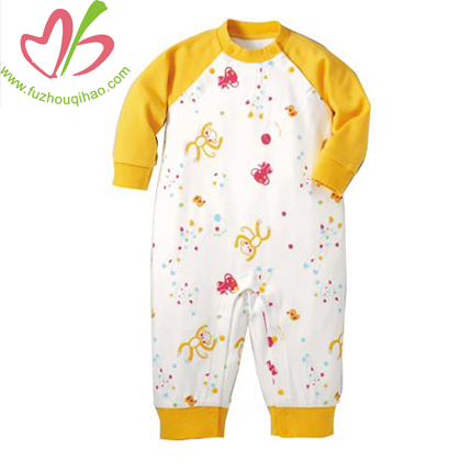 winter baby onesie with small flowers printing, reglan sleeves long leggings baby romper