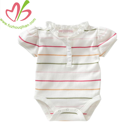 bubble sleeves girl baby onesie with ruffles, stripes baby rompers