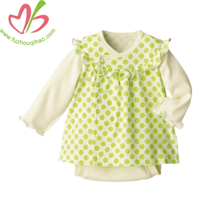 baby girl clothes, baby dress with dot printing