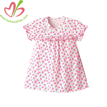 cotton baby dress romper with small flowers full printing