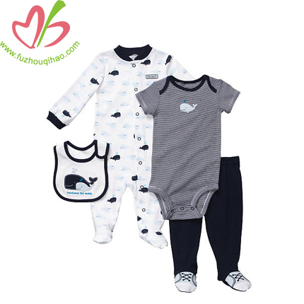 four pieces baby boy clothes sets for winter and summer