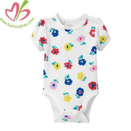 short sleeves round neck baby romper designs with full printing