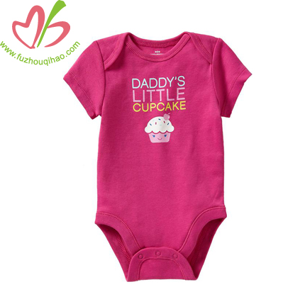 open neck new baby clothes design,baby onesie with cake printing
