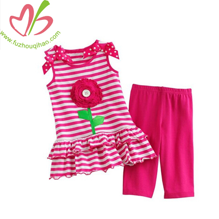 Hot Pink Gril's Stripe Flower Sets
