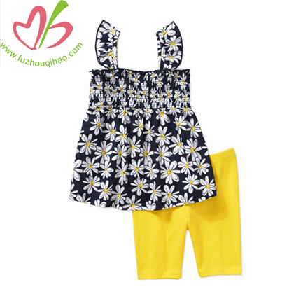 Girl's Full Printed Flower Set