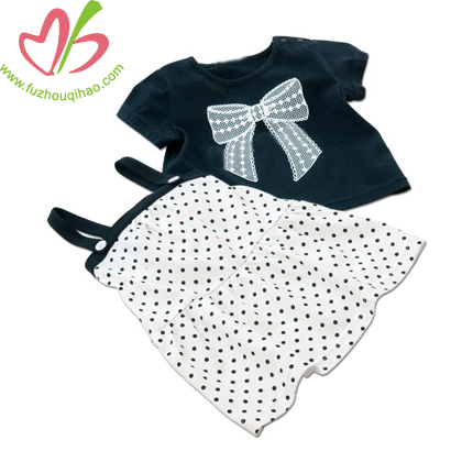 cute and comfortable girls 2pc, girls set tie dress and top
