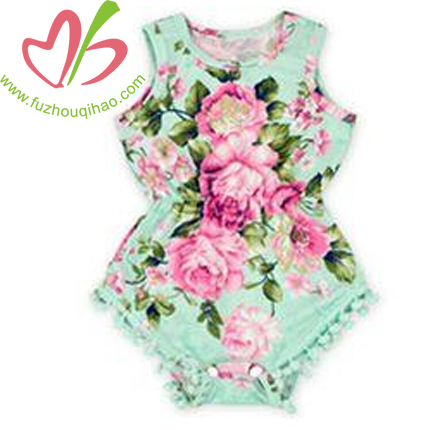 posh infant toddler kids summer pink mint floral sleeveless bubble pom pom romper