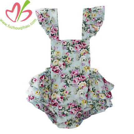 summer woven floral baby bubble, flutter sleeve ruffle baby playsuit