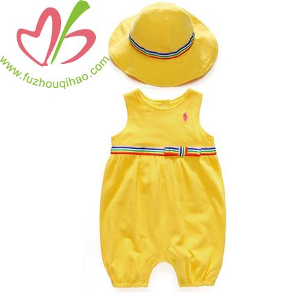 summer mesh cotton romper & floppy hat set bubble outfits vibrant-hued shortall bow bedecked waist sunsuit