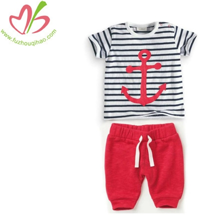 Girl's 2pcs sets & printing red anchor capri shirt outfit