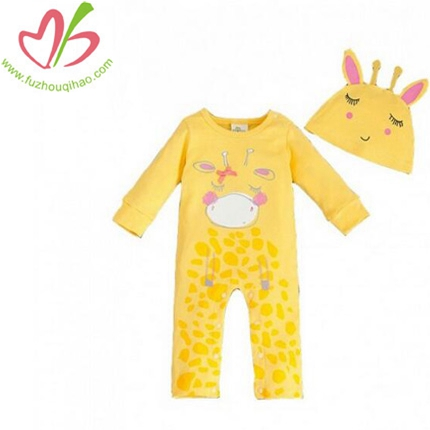 Yellow Print Cute Giraffe Long Sleeve Coveralls