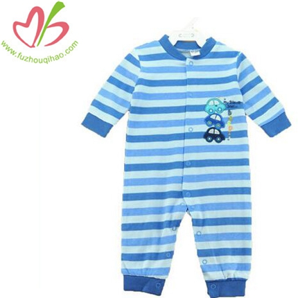 Comfortable Baby Boy Blue Stripe Romper