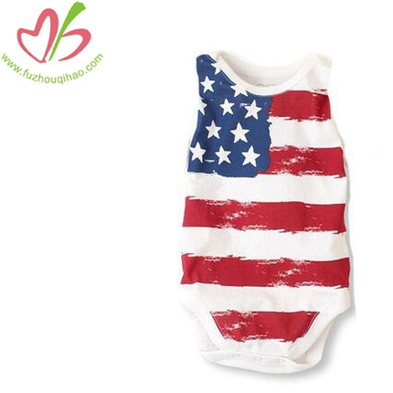 Romper Onesies With Printing Flag