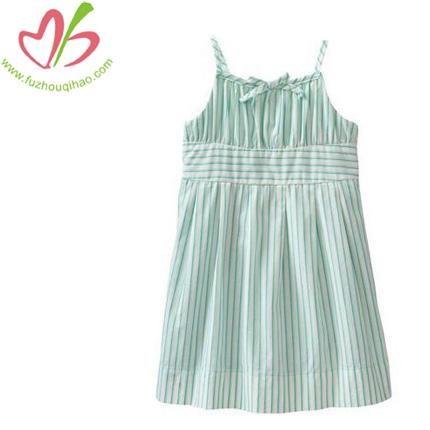 Girl's vertical Stripes&Strap Dress