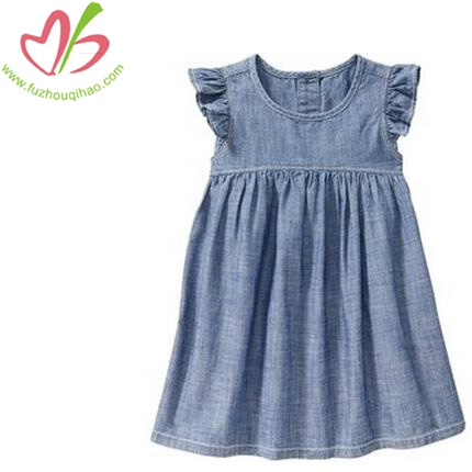 Girl's angel sleeve Demin Dress