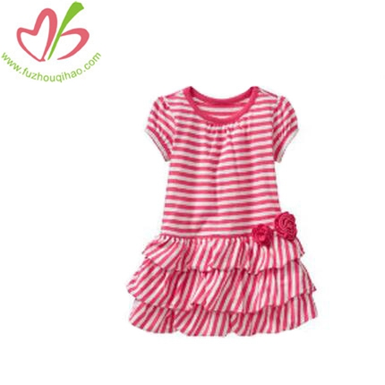 Colourful Stripe Ruffle Girl Dress