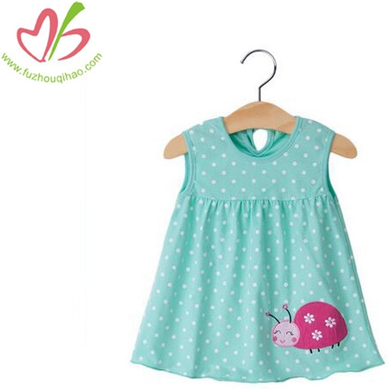 Girl's Dress With Printing Dots&Applique