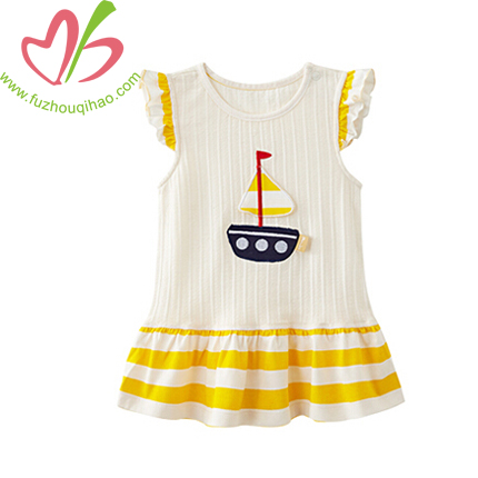 Girl's Comfortable Cotton Dress With Applique