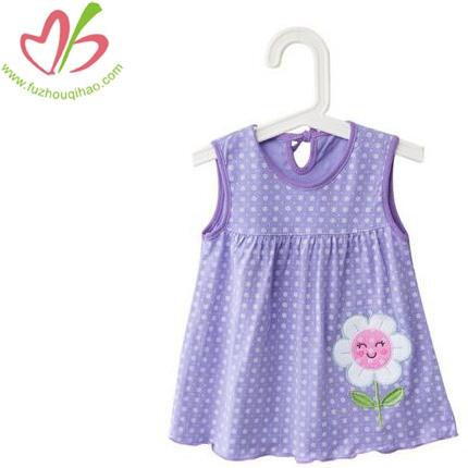100%Cotton Girl's Dress With Flower Applique