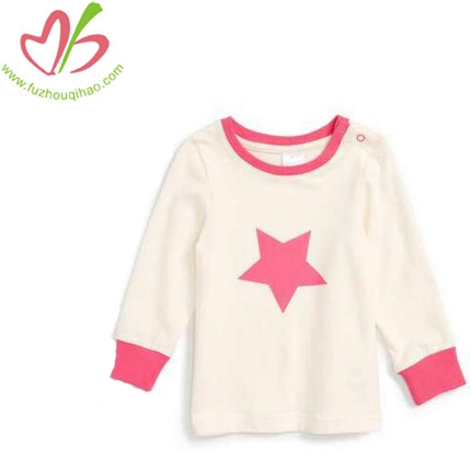 Long Sleeve Soft Fabric Girl's Star Tops