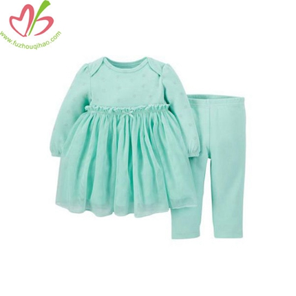 Soft Mint Baby Dress with Legging
