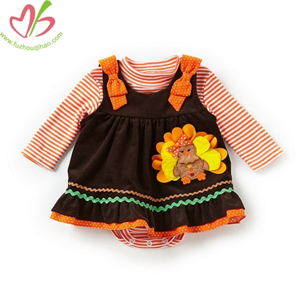Thanksgiving Turkey Applique Baby Romper Dress Set