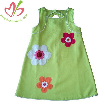 Flower Applique Summer Girl's Dress