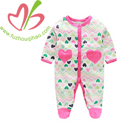 Heart Printed Baby Girl's Jumpsuit