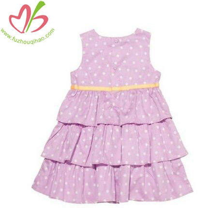 New Fashion Design polka dot Pink Girl's Cake Dress