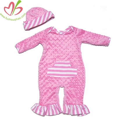 Hot Pink Minky Dot Romper with Caps