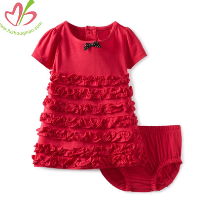 Red Ruffled Tunic Top with Bloomer