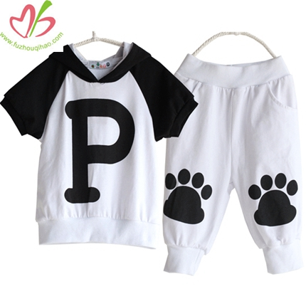 White and Black Kids Clothing Set with Hoody