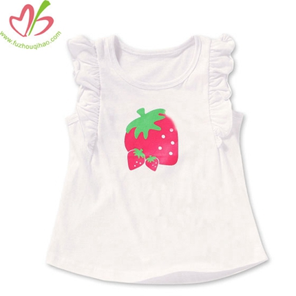 White Flutter Sleeves Girls Tshirt