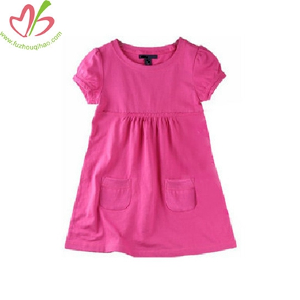 Plain Solid Color Girls Sewing Dress