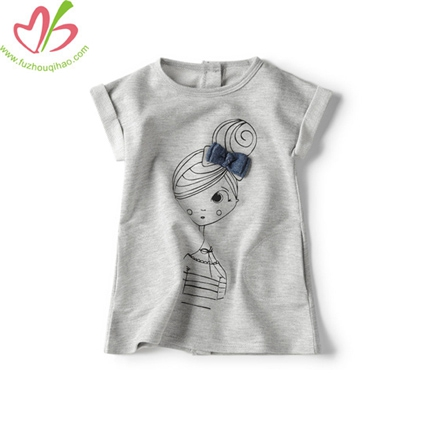Back Opening Printing Girls' Tops with Short Sleeves