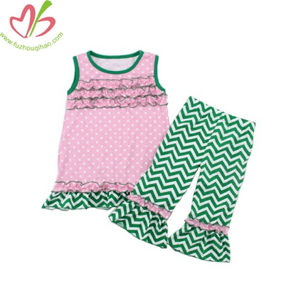 Green Chevron Printing Girls Pants Suit