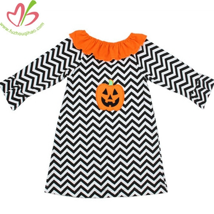 Holiday Pumkin Applique Chevron Girl's Dress