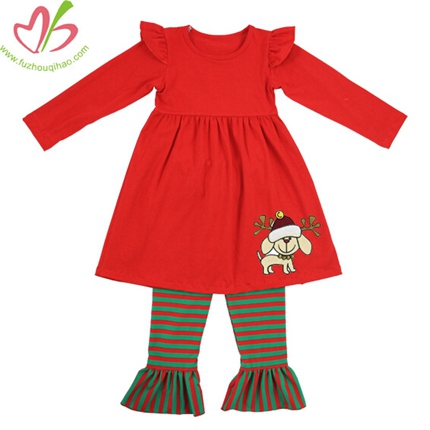 Red and Green Kids Girl's Legging Set