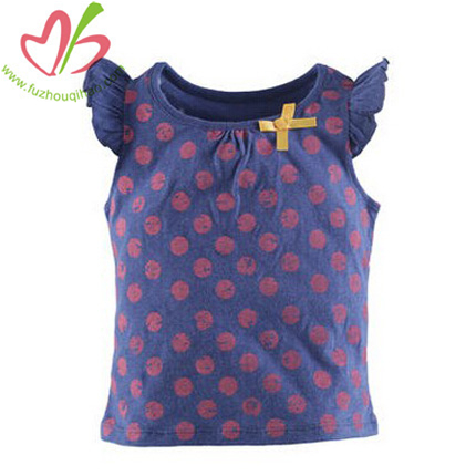 Flutter Sleeves Girls Tank Top Design with Printing