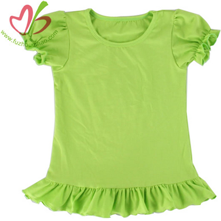 Wholesale Blank Girl's Tshirt with Ruffles