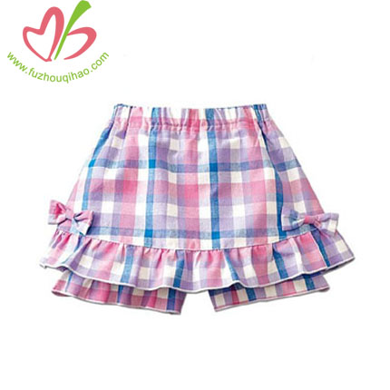 Gingham Girl's Bottoms,Ruffle Shorts