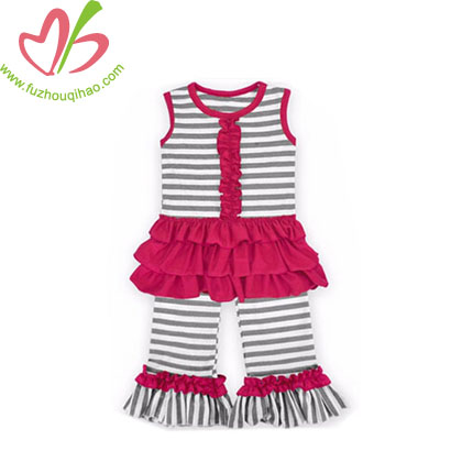 Ruffle Striped Girl's Pants Sets